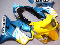 Metallic Blue/Yellow Honda CBR 600 F4 Fairings