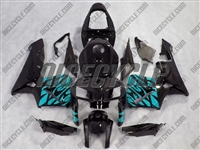 Honda CBR600RR Teal Tribal on Black Fairings