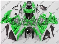 Suzuki GSX-R 600 750 Black Fire on Candy Green Motorcycle Fairings