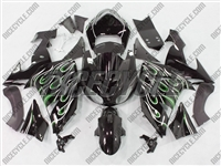 Kawasaki ZX10R Dual Green Flame Fairings