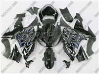 Kawasaki ZX10R Dual Blue Flame Fairings