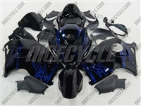 Suzuki GSX-R 1300 Hayabusa Blue Airbrush on Black Fairings