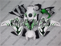 Honda CBR1000RR White/Green Flame Fairings