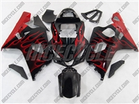 Red Flame Suzuki GSX-R 600 750 Fairings