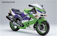 Kawasaki ZX-9R White/Purple/Green Fairings