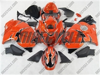 Suzuki GSX-R 1300 Hayabusa Black Tribal on Orange Fairings