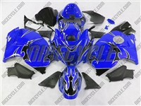 Black Tribal on Blue Suzuki GSX-R 1300 Hayabusa Fairings