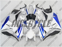 White/Blue Kawasaki ZX6R Fairings