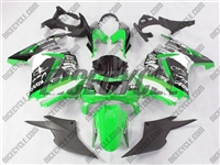 White/Green Monster Style Ninja 250R Fairings