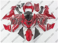 Kawasaki ZX10R Candy Red with Flame Fairings