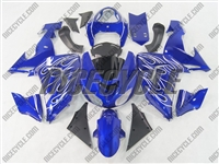 Kawasaki ZX10R Candy Blue with Flame Fairings