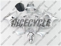 Kawasaki ZX6R Tribal Black/Silver Fairings