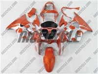 Kawasaki ZX6R Metallic Orange Tribal Fairings