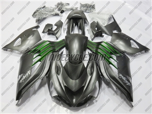 Kawasaki ZX14R Satin Black/Green Fairings
