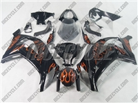 Kawasaki ZX10R Orange Flame Fairings