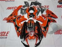 Suzuki GSX-R 600 750 Orange/Black Tribal Fairings
