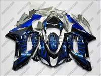Kawasaki ZX6R Ice Blue Flames Fairings