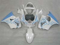 Kawasaki ZX6R White/Blue Flame Fairings