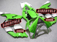 Kawasaki ZX6R White/Green Race Fairings