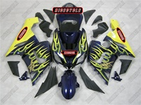 Kawasaki ZX6R Yellow Flames on Blue Fairings