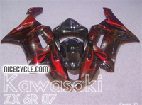 Kawasaki ZX6R Red Flame Fairings