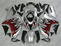 Kawasaki ZX6R Silver/Red Flame Fairings