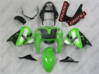 White/Green Kawasaki ZX9R Fairings
