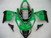 Kawasaki ZX9R Black/Green Fairings