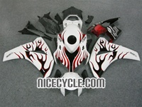 Honda CBR1000RR White/Red Flame Fairings