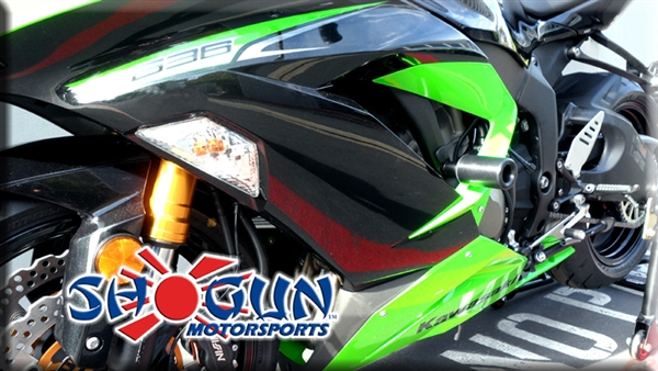 Kawasaki ZX6R 2013-Present Frame Sliders (No Cutting) by Shogun