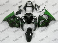 Kawasaki ZX6R Mean Green Flame Fairings
