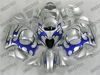 Suzuki GSX-R 1300 Hayabusa Blue Tribal on Silver Fairings