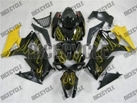 Suzuki GSX-R 1000 Yellow Fire Flame Fairings