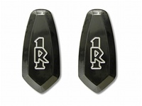 R1 Mirror Caps Anodized Black and Engraved (product code# A2949B)