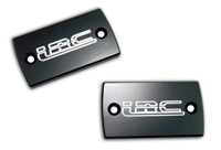 "Hayabusa Master Cylinder Cap Set. Engraved with ""LRC"" and ANODIZED BLACK (Product Code #A3002ABLRC)"
