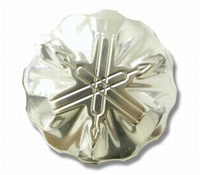 "YAMAHA - ""3-D"" POLISHED BILLET POLISHED ALUMINUM ROUND MASTER CYLINDER CAP WITH SYMBOL ENGRAVED(product code# A3150)"