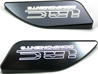 HAYABUSA TANK PADS (99-07) BLACK ANODIZED & ENGRAVED WITH LRC(Product Code #A3175ABLRC)