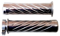 Polished Curved Grips With Swirled Design & Flat Ends for Honda (product code# A3244)
