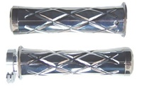 Polished Curved Grips With Criss Cross Design & Flat Ends for Honda (product code# A3245)