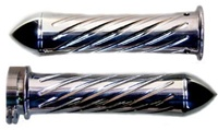 Polished Straight Grips With Swirled Design & Pointed Ends for Honda (product code# A3246P)