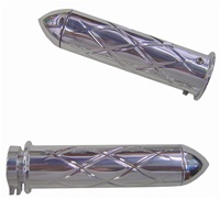 Polished Straight Grips With Criss Cross Design & Pointed Ends for Honda (product code# A3247P)