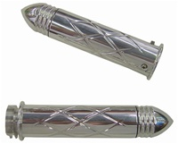 Polished Straight Grips With Criss Cross Design & Pointed Ribbed Ends for Honda (product code# A3247PR)