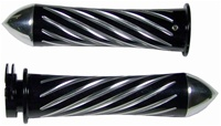 ANODIZED BLACK SUZUKI GRIPS, CURVED IN, SWIRLED, POINTED ENDS (PRODUCT CODE# A3250BP)