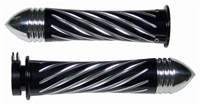 ANODIZED BLACK SUZUKI GRIP, CURVED IN, SWIRLED, POINTED RIBBED ENDS (PRODUCT CODE# A3250BPR)