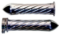 POLISHED SUZUKI GRIPS, CURVED IN, SWIRLED, POINTED ENDS (PRODUCT CODE# A3250P)
