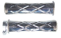 POLISHED SUZUKI GRIPS, CURVED IN, CRISS CROSSED, FLAT ENDS (PRODUCT CODE# A3251)