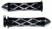 ANODIZED BLACK SUZUKI GRIPS, CURVED IN, CRISS CROSSED, POINTED ENDS (PRODUCT CODE# A3251BP)