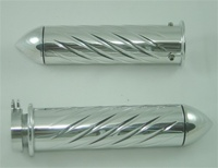 POLISHED SUZUKI GSXR/BUSA GRIP, SWIRLED, POINTED ENDS (PRODUCT CODE# A3252P)
