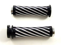 Anodized Black Yamaha R1, R6, R6s, FZ1 Grips Curved-In, Swirled, Flat Ends (product code# A3255B)