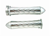 Polished Yamaha R1, R6, R6s, FZ1 Grips Curved-In, Swirled, Pointed Ends (product code# A3255P)